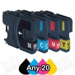 Any 20 Brother LC-39 Compatible Ink Combo