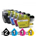 5 Pack Brother LC-3329XL High Yield Compatible Ink Cartridges Combo [2BK, 1C, 1M, 1Y]