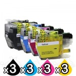 12 Pack Brother LC-3329XL High Yield Compatible Ink Cartridges Combo [3BK, 3C, 3M, 3Y]