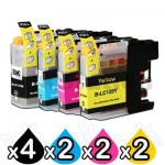 10 Pack Compatible Brother LC-137XLBK + LC-135XLC/M/Y Ink Cartridges [4BK,2C,2M,2Y]