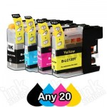 Any 20 Compatible Brother LC-137XLBK + LC-135XLC/M/Y Ink Cartridges