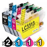 5 Pack Brother LC-3313 Compatible Ink Cartridges Combo (High Yield of Brother LC-3311) [2BK, 1C, 1M, 1Y]