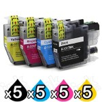 20 Pack Brother LC-3317 Compatible Ink Cartridges Combo [5BK, 5C, 5M, 5Y]