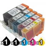 5 Pack Canon PGI-650XL CLI-651XL Compatible High Yield Inkjet Cartridges [1BK,1PBK,1C,1M,1Y]