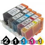 6 Pack Canon PGI-650XL CLI-651XL Compatible High Yield Inkjet Cartridges [2BK,1PBK,1C,1M,1Y]