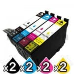 8 Pack Epson 702XL Compatible High Yield Inkjet Cartridges Combo [2BK,2C,2M,2Y]