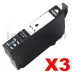 3 x Epson 702XL (C13T345192) Compatible Black High Yield Inkjet Cartridge