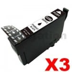 3 x Compatible Epson 220XL (C13T29419) Black High Yield Ink Cartridge - 400 pages