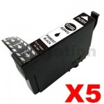 5 x Compatible Epson 220XL (C13T29419) Black High Yield Ink Cartridge - 400 pages