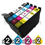 8 Pack Compatible Epson 220XL (C13T294192-C13T294492) High Yield Ink Combo [2BK,2C,2M,2Y]