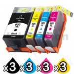 3 Sets of 4 Pack HP 905XL Compatible High Yield Inkjet Combo T6M05AA - T6M17AA [3BK,3C,3M,3Y]