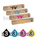3 Sets of 4 Pack Genuine Kyocera TK-8119 Toner ECOSYS M8130CIDN, M8124CIDN [3BK,3C,3M,3Y]