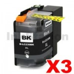3 x Brother LC-239XLBK High Yield Black Compatible Ink Cartridge - 2,400 pages