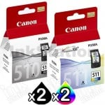 4 Pack Canon PG-510 CL-511 Genuine Ink Cartridges[2BK,2C]
