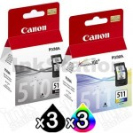 6 Pack Canon PG-510 CL-511 Genuine Ink Cartridges [3BK,3C]