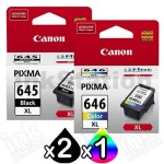 3-Pack Canon PG-645XL, CL-646XL Genuine [2Black + 1Colour] High Yield Ink Combo