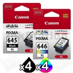 8-Pack Canon PG-645XL, CL-646XL Genuine [4Black + 4Colour] High Yield Ink Combo