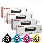 3 sets of 4 Pack Genuine Canon CART-418 Toner Cartridges [3BK,3C,3M,3Y]