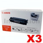 3 x Canon CART-U Black Genuine Toner Cartridge - 2,500 pages