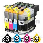 12 Pack Brother LC-233 Compatible Ink Cartridges [3BK,3C,3M,3Y]