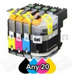 Any 20 Pack Brother LC-233 Compatible Ink Cartridges