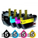 20 Pack Brother LC-3319XL Compatible Ink Cartridges Combo (High Yield of Brother LC-3317) [5BK, 5C, 5M, 5Y]