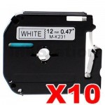 10 x Brother M-K231 Compatible 12mm Black Text on White Tape - 8 meters