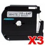 3 x Brother M-K231 Compatible 12mm Black Text on White Tape - 8 meters