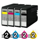 8 Pack Canon PGI-1600XL Compatible High Yield Ink Cartridge [2BK,2C,2M,2Y]