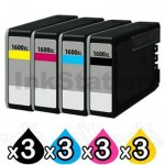 12 Pack Canon PGI-1600XL Compatible High Yield Ink Cartridge [3BK,3C,3M,3Y]