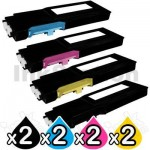 2 sets of 4 pack Dell C2660dn / C2665dnf Compatible Toner Combo [2BK,2C,2M,2Y]