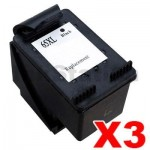 3 x HP 65XL Compatible Black High Yield Inkjet Cartridge N9K04AA - 300 Pages