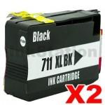 2 x HP 711XL Compatible Black Inkjet Cartridge CZ133A