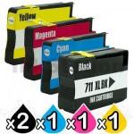 5 Pack HP 711XL Compatible Inkjet Cartridges [2BK,1C,1M,1Y]