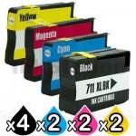 10 Pack HP 711XL Compatible Inkjet Cartridges [4BK,2C,2M,2Y]