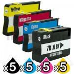 20 Pack HP 711XL Compatible Inkjet Cartridges [5BK,5C,5M,5Y]