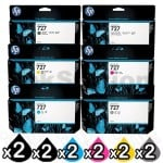 2 Sets of 6 Pack HP 727 Genuine Inkjet Cartridges C1Q12A+B3P19A-B3P24A [2MB,2PB,2C,2M,2Y,2GR]