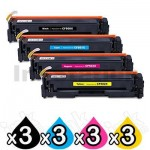 3 Sets of 4 Pack HP CF500X-CF503X (202X) Compatible High Yield Toner Cartridges [3BK,3C,3M,3Y]