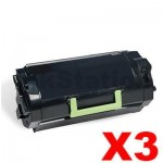 3 x Lexmark (62D3H00) Compatible MX710 / MX711 / MX810 / MX811 / MX812 Black High Yield Toner Cartridge - 25,000 pages