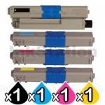 4 Pack Compatible OKI C332DN / MC363DN Toner Combo (46508720-46508717) [1BK,1C,1M,1Y]