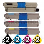 2 Sets of 4 Pack Compatible OKI C332DN / MC363DN Toner Combo (46508720-46508717) [2BK,2C,2M,2Y]