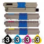 3 Sets of 4 Pack OKI C532DN / MC573DN Compatible Toner Combo (46490612-46490609) [3BK,3C,3M,3Y]