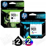 4 Pack HP 901XL + 901 Genuine Inkjet Cartridges CC654AA + CC656AA [2BK,2CL]