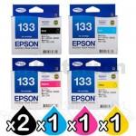 5 Pack Genuine Epson 133 T1331-1334 Ink Cartridge Set [2BK+1C+1M+1Y]