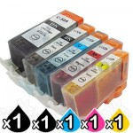 5-Pack Canon PGI-525, CLI-526 Compatible Inkjet (with Chip) [1BK,1PBK,1C,1M,1Y]