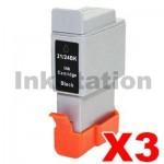3 x Canon BCI-24 Black Compatible Ink Cartridges