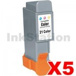 5 x Compatible Canon BCI-21C Colour Ink Cartridge (5 Carts)