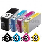 3 sets of 4 Pack HP 920XL Compatible High Yield Inkjet Cartridges CD972AA-CD975AA [3BK,3C,3M,3Y]
