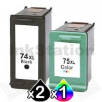 3 Pack HP 74XL + 75XL Compatible Inkjet Cartridges CB336WA + CB338WA [2BK,1CL]