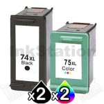 4 Pack HP 74XL + 75XL Compatible Inkjet Cartridges CB336WA + CB338WA [2BK,2CL]